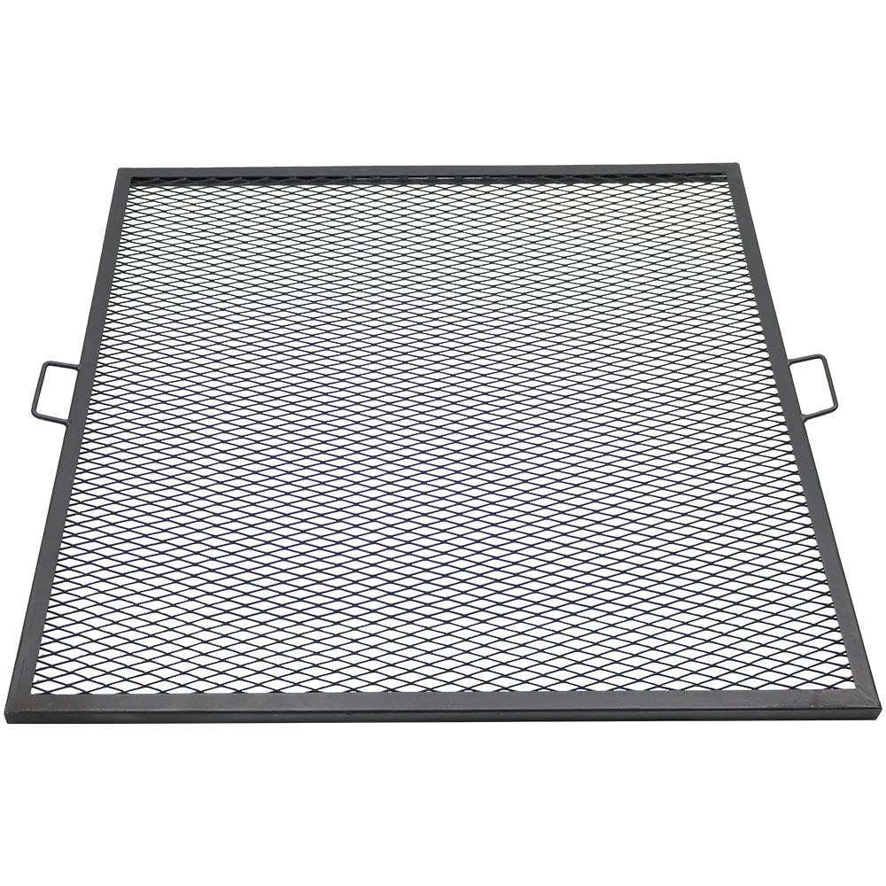Sunnydaze Decor 40 in  X-Marks Black Steel Square Fire Pit Cooking Grill  Grate
