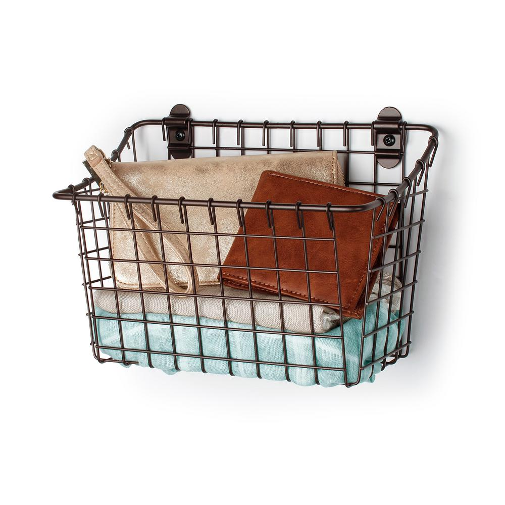 Spectrum Vintage 7.5 in. x 10.25 in. x 5.5 in. Wall Mount Basket in Bronze