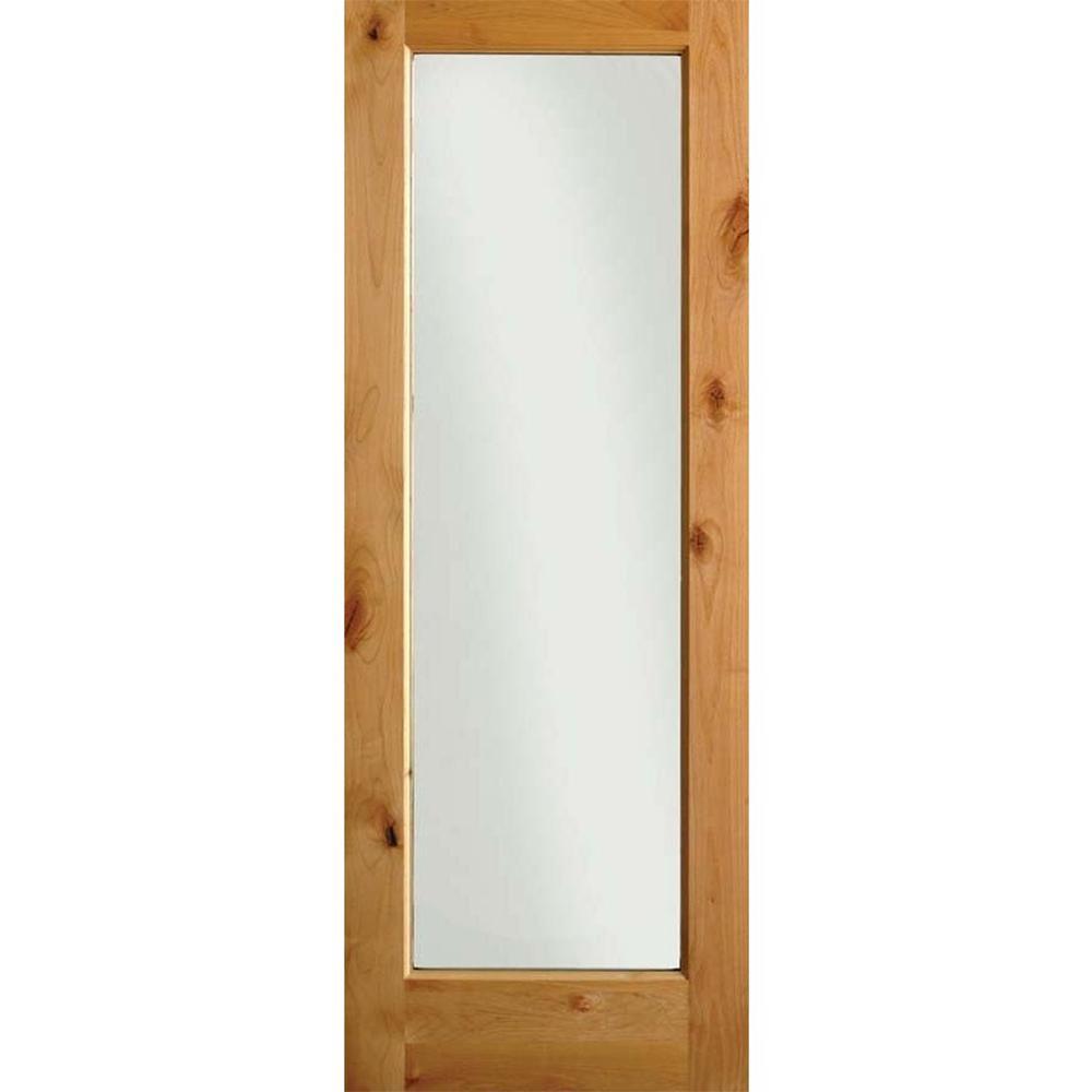 28 in. x 80 in. Rustic Knotty Alder 1-Lite Wood Stainable Interior Door Slab