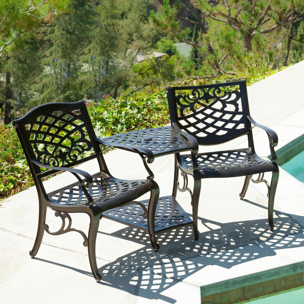 Sarasota Outdoor Kitchens: Sarasota Bronze 3-Piece Aluminum Patio Conversation Set