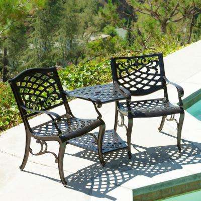 Sarasota Bronze 3-Piece Aluminum Patio Conversation Set