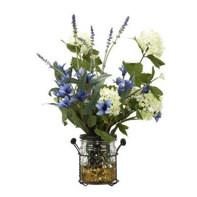 Indoor Cream and Green Snowball Branches with Blue Spike Flowers and Lavender in Glass Jar with Metal Holder