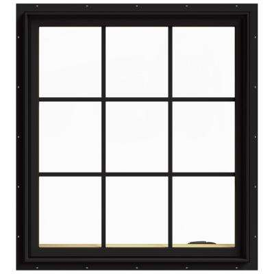 36 in. x 40 in. W-2500 Series Black Painted Clad Wood Right-Handed Casement Window with Colonial Grids/Grilles