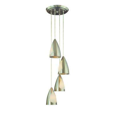 4-Light Brushed Steel Staggered Pendant Chandelier with Metal and Glass Shades