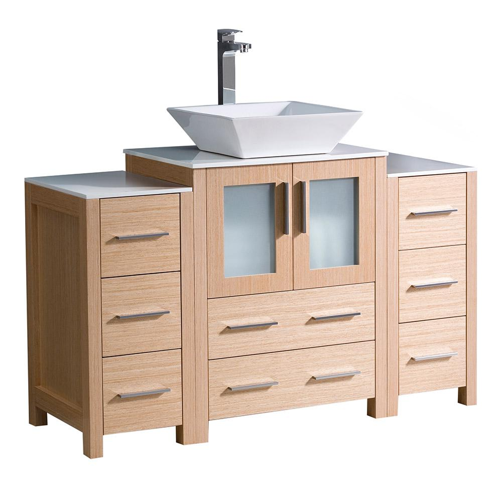 Fresca Torino 48 In. Bath Vanity In Light Oak With Ceramic Vanity Top In White With White Basin