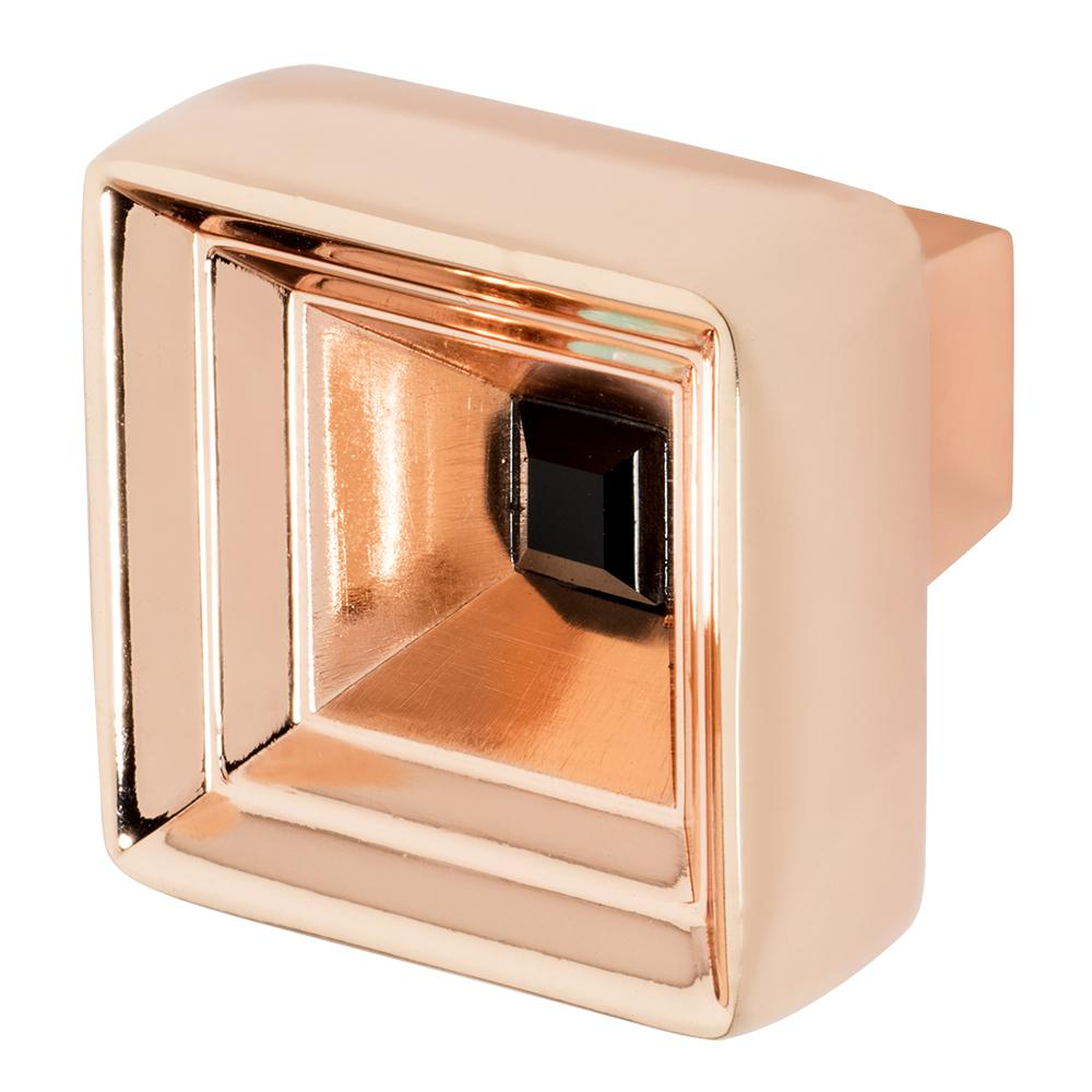 Hidden Treasure 1-1/16 in. Rose Gold with Black Crystal Cabinet Knob