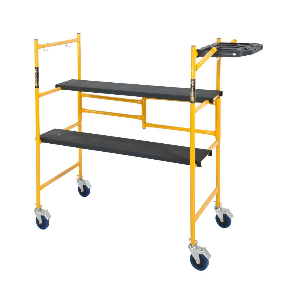 MetalTech 4 ft. x 4 ft. x 2 ft. Mini Rolling Scaffold 500 lb. Load Capacity with Tool Shelf