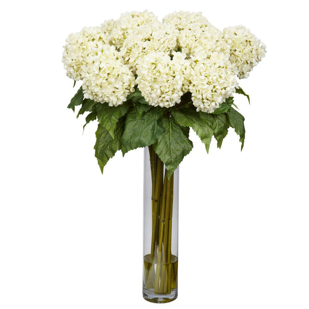 31 In H White Hydrangea Silk Flower Arrangement 1221 Wh The Home