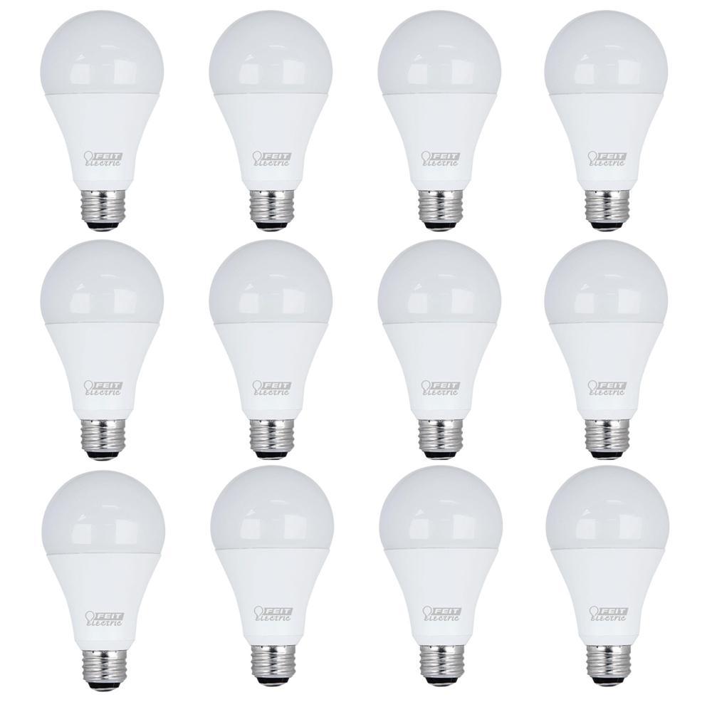 50/100/150W Equivalent Daylight (5000K) A21 LED 3-Way Light Bulb (12-Pack)