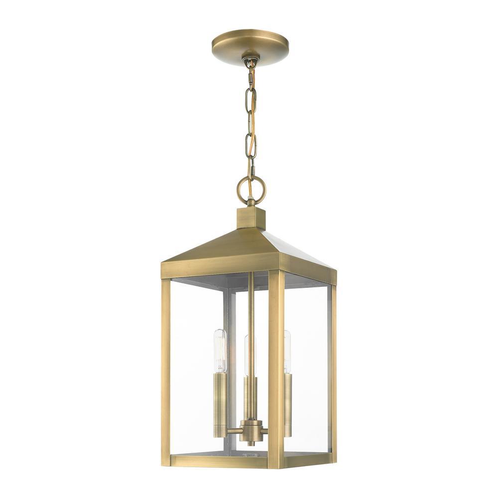 Nyack 3 Light Antique Brass Outdoor Pendant Lantern