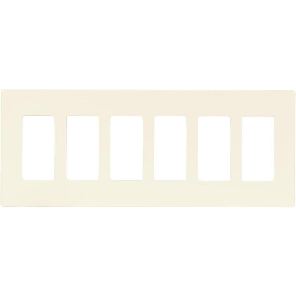 Eaton 6 Gang Decorator Screwless Wall Plate Light Almond Pjs266la Cooper Wiring Plates