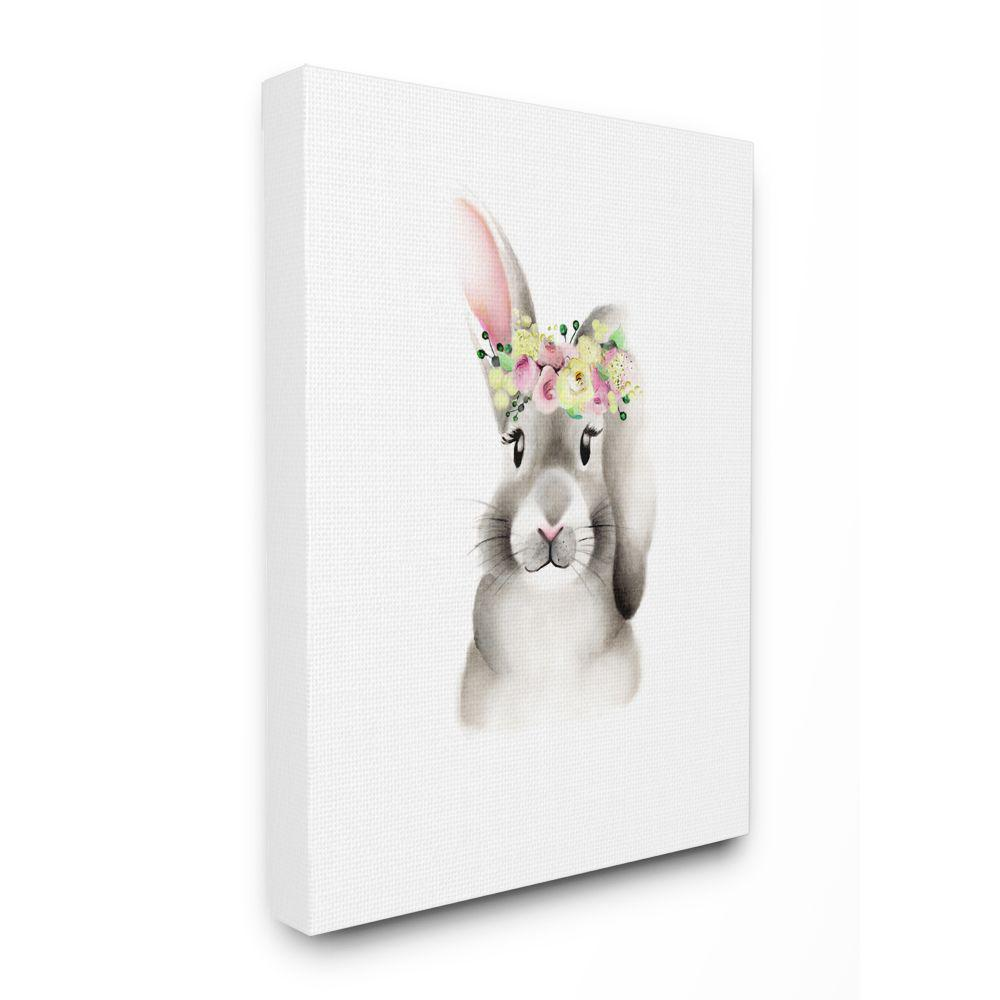 The Kids Room By Stupell 24 In X 30 In Cute Cartoon Baby Bunny Rabbit Flower Crown Forest Painting By Studio Q Canvas Wall Art Brp 2407 Cn 24x30 The Home Depot