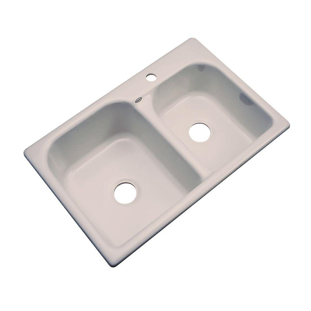 Thermocast Cambridge Drop-In Acrylic 33 in. 1-Hole Double Bowl Kitchen Sink in Fawn Beige
