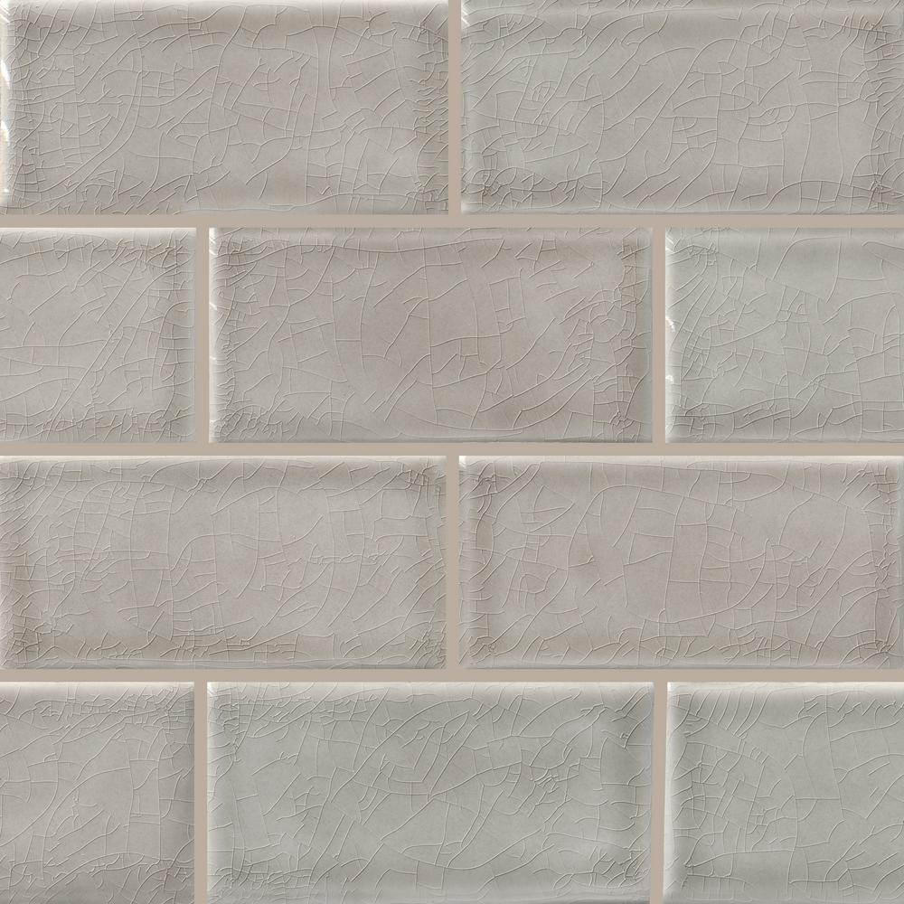 MSI Dove Gray Handcrafted 3 in. x 6 in. Glossy Ceramic Gray Subway Tile (1 sq. ft. / case)
