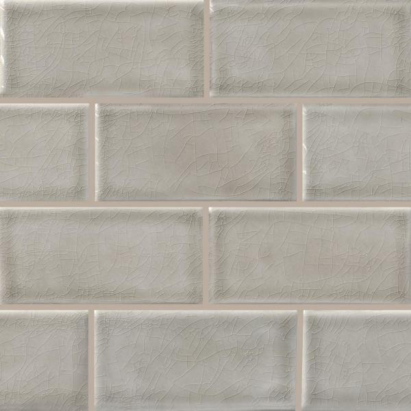 Dove Gray Handcrafted 3 in. x 6 in. Glossy Ceramic Gray Subway Tile (1 sq. ft. / case)