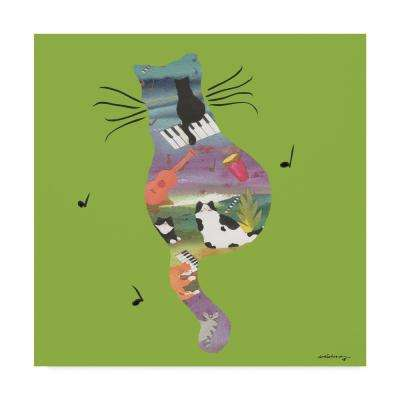 14 in. 14 in. Whiskers Studio 'Music Cat' Canvas Wall Art