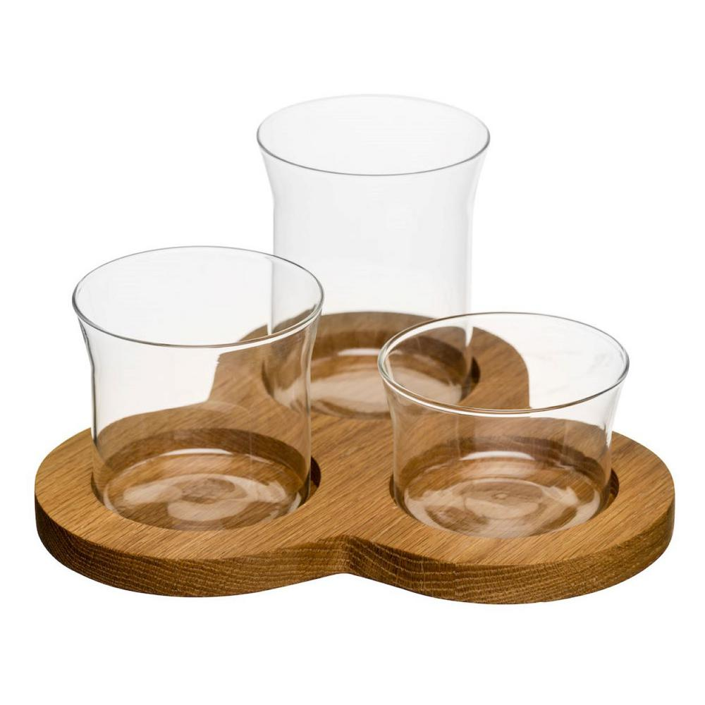 Nature Clear Glass and Oak 4 Piece Serving Set