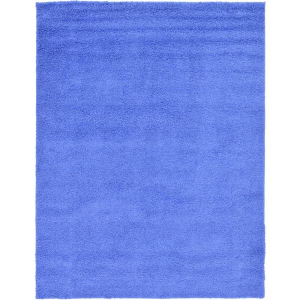 Solid Shag Periwinkle Blue 9 ft. x 12 ft. Area Rug