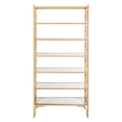 72 in. Gold/Clear Metal 7-shelf Etagere Bookcase with Open Back