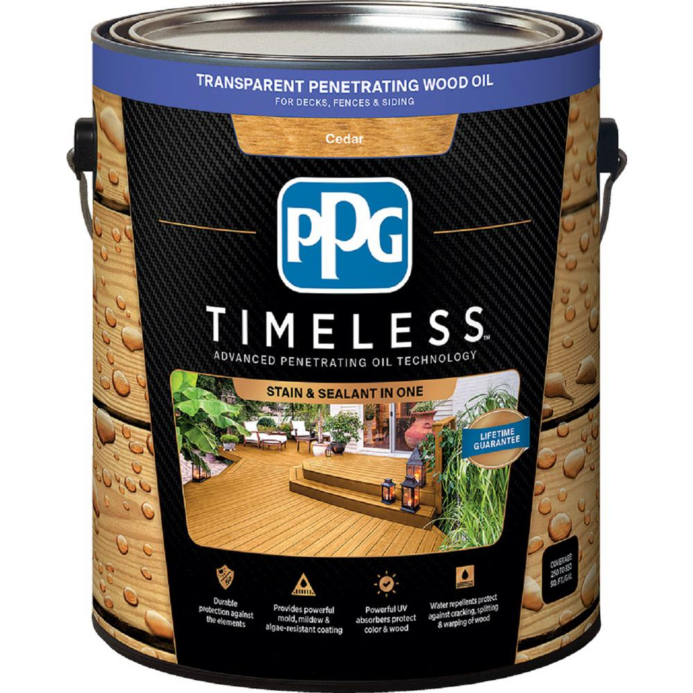 PPG TIMELESS 1 gal. TPO-2 Cedar Transparent Penetrating Wood Oil Exterior Stain Low VOC