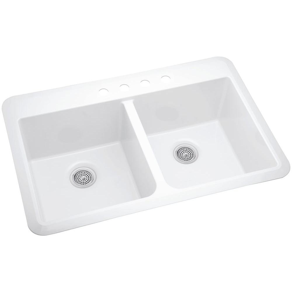 Superb STERLING Slope Acrylic Drop In Undermount Vikrell 33 In. 4 Hole Double Basin