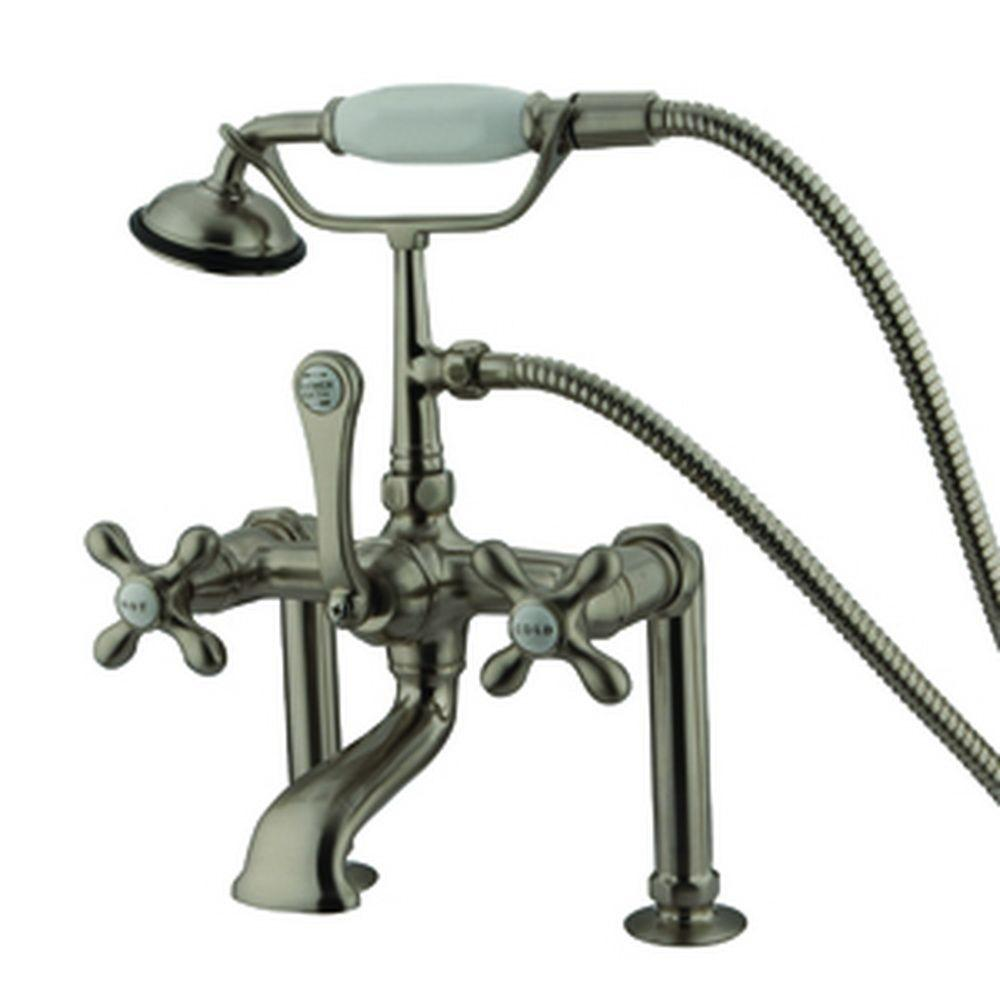 3-Handle Deck-Mount High-Risers Claw Foot Tub Faucet with Hand Shower in