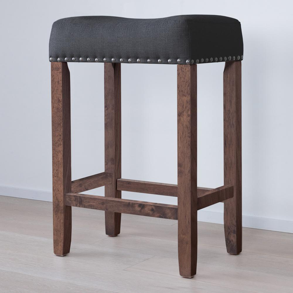 Coffee Bar Stools: Nathan James Hylie Nailhead 24 In. Antique Coffee And