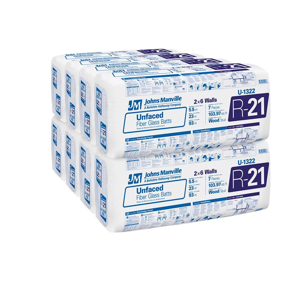 R-21 Unfaced Fiberglass Insulation Batt 23 in. x 93 in. (8-Bags)