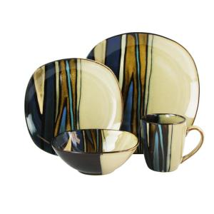 Matrice 16-Piece Brown and Blue Dinnerware Set by