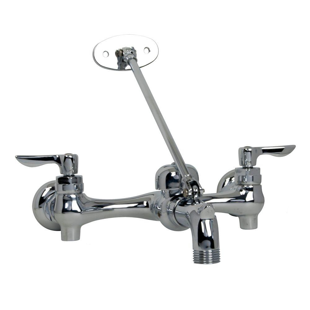 Exposed Yoke Wall Mount 2-Handle Utility Faucet with Top Brace and