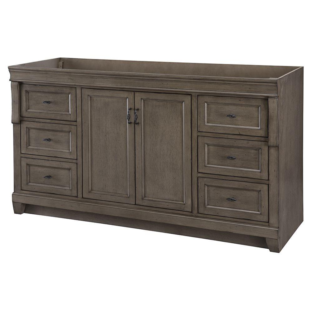 Home decorators collection naples 60 in w bath vanity cabinet only in distressed grey for - Home decor bathroom vanities ...