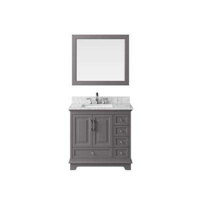 36 in.  Bath Vanity in Taupe Grey with Marble Vanity Top in Carrara White with White Basin and Mirror