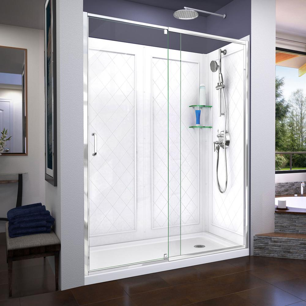 24 In X 64 In Framed Pivot Shower Door Kit In Silver With Pebbled