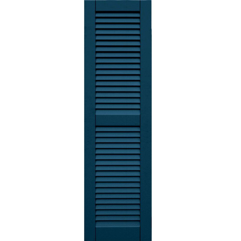 Winworks Wood Composite 15 in. x 54 in. Louvered Shutters Pair #637 Deep Sea Blue