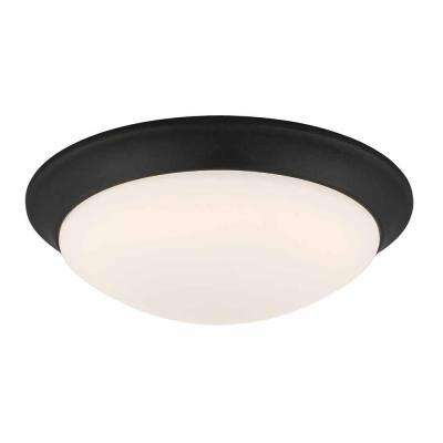 11 in. 120-Watt Equivalent Satin Bronze Integrated LED Flushmount with Frosted White Glass Shade
