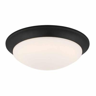11 in. 120-Watt Equivalent Satin Bronze Integrated LED Flush Mount with Frosted White Glass Shade