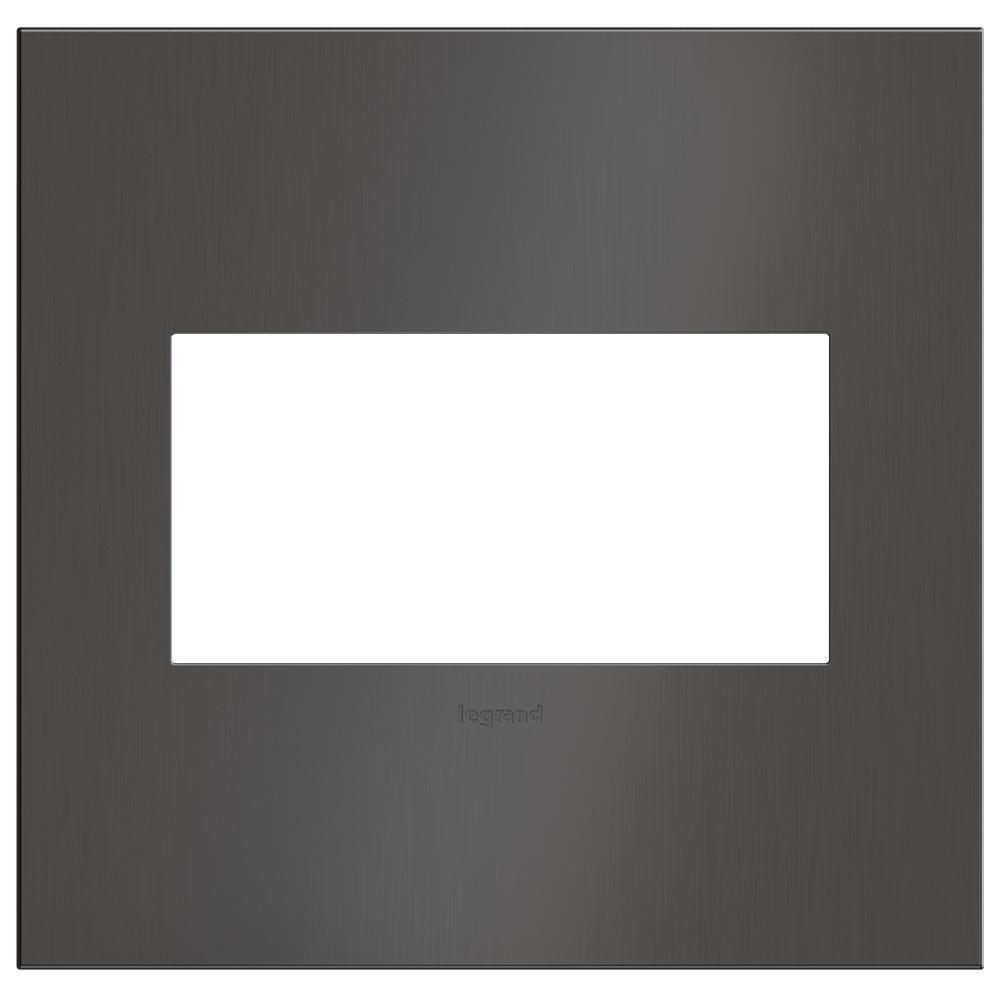 adorne 2 Gang Decorator/Rocker Wall Plate, Brushed Black Nickel (1-Pack)