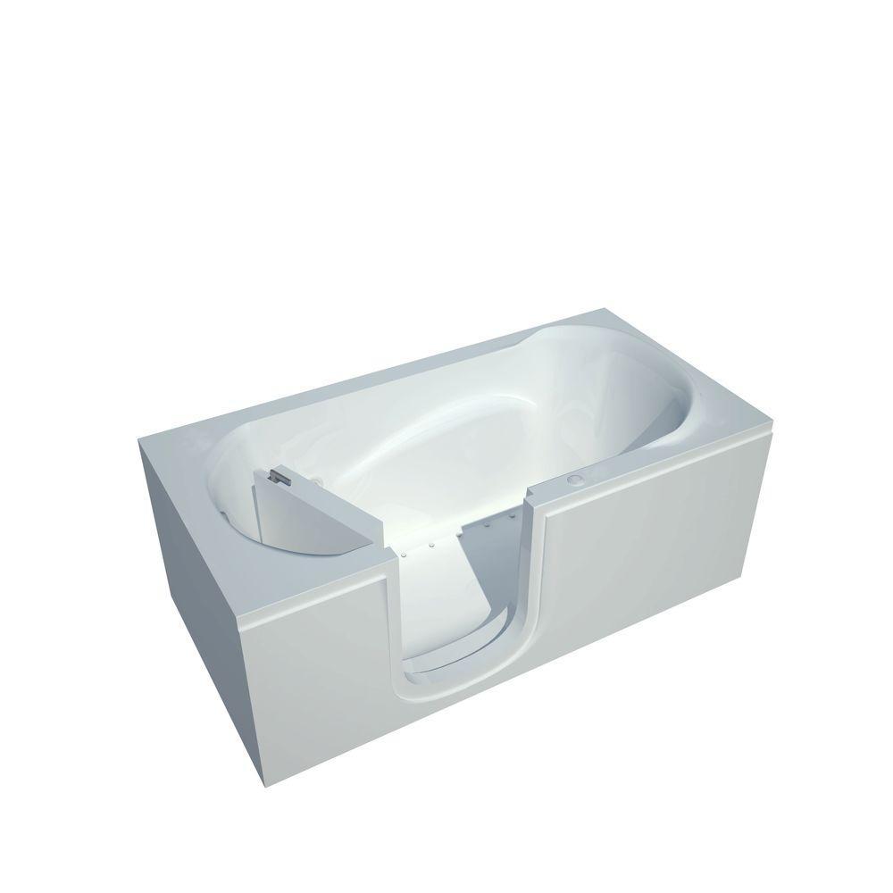 5 ft. Acrylic Rectangular Step-In Air Bathtub in White