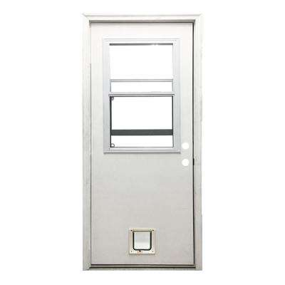 32 in. x 80 in. Classic Vented Half Lite LHIS White Primed Textured Fiberglass Prehung Front Door with Small Cat Door