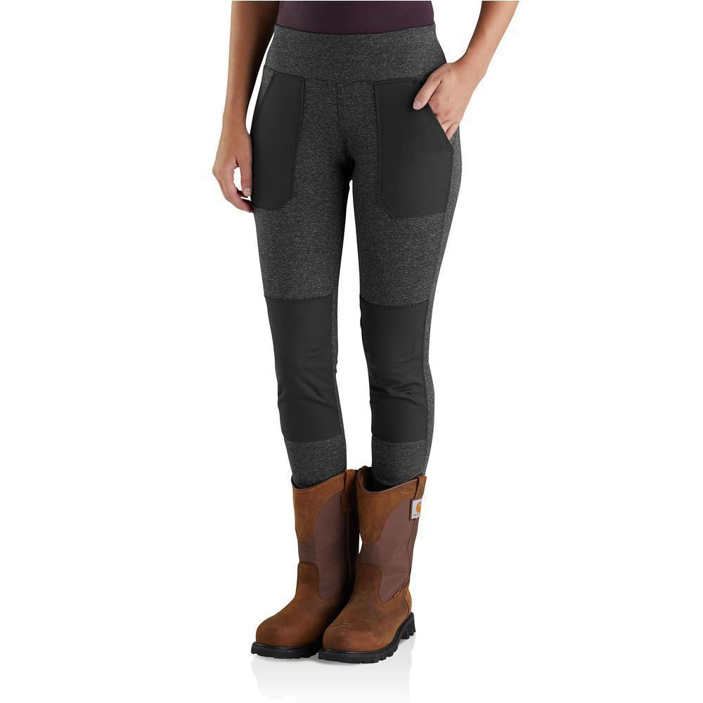 Women's Large Black Heather Nylon/Poly/Spandex Force Utility Legging Pant