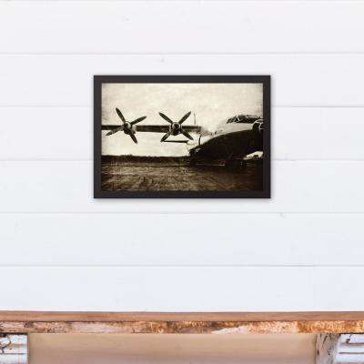 12 in. x 18 in. ''Vintage Plane'' Printed Framed Canvas Wall Art