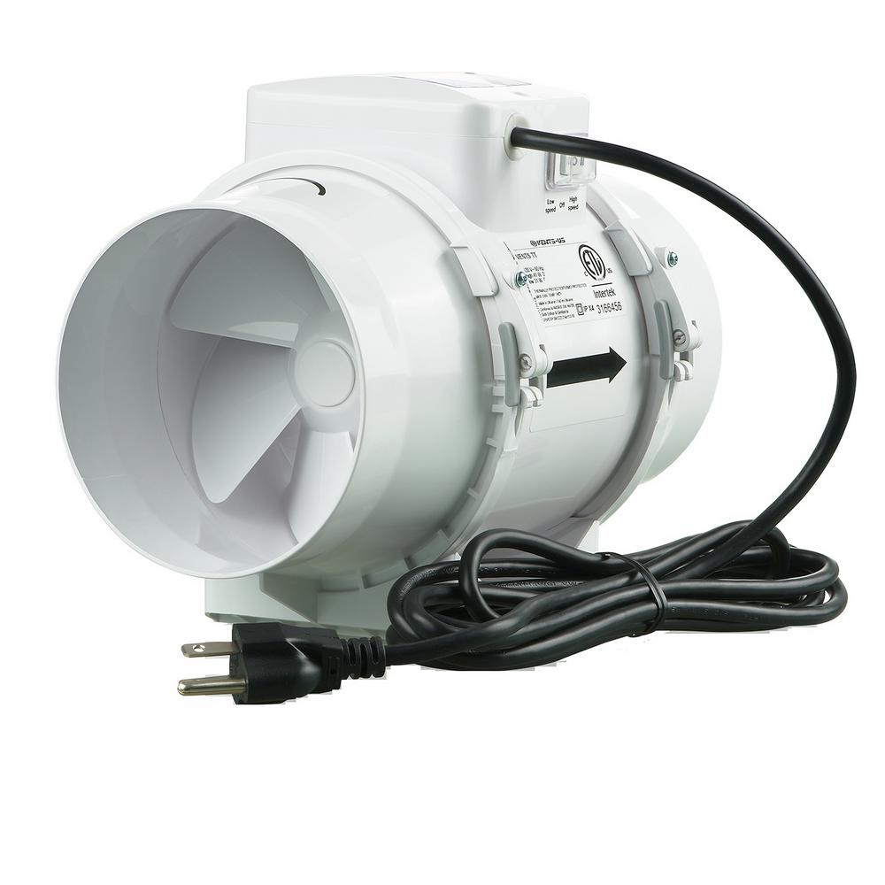 Vents 225 cfm power 6 in mixed flow in line duct fan tt 150 the home depot for In line centrifugal bathroom fan
