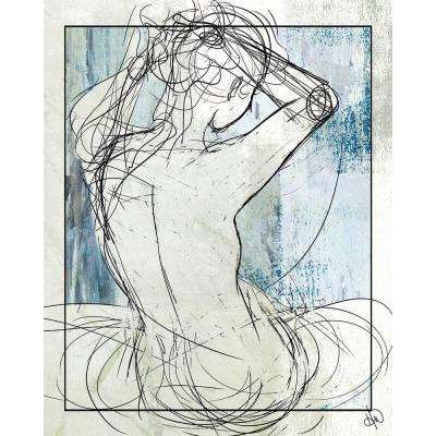 """20 in. x 24 in. """"Woman on Celeste"""" Planked Wood Wall Art Print"""