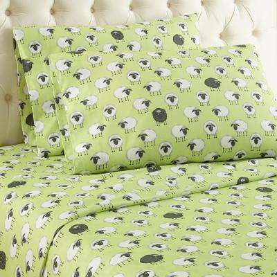 4-Piece Sheep Green King Sheet Set