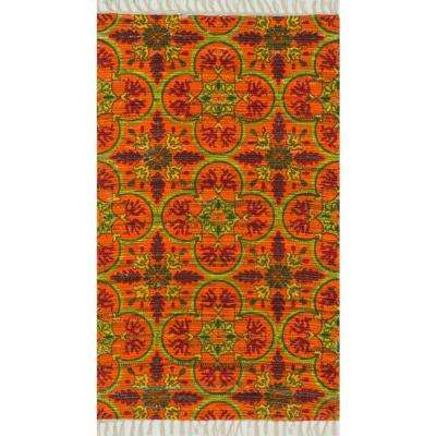 Aria Lifestyle Collection Orange/Multi 1 ft. 8 in. x 3 ft. Area Rug