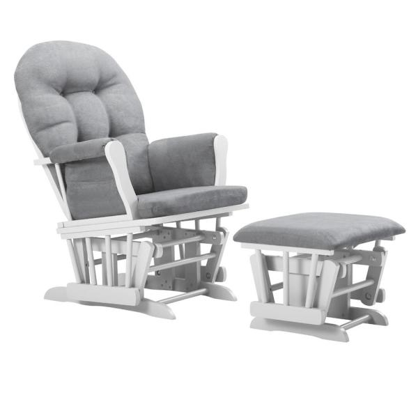 Belle Isle Furniture Bentley White Light Gray Glider and Ottoman CAG42-0B01
