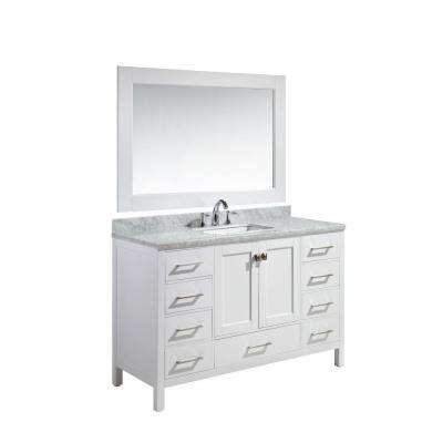 London 54 in. W x 22 in. D x 36 in. H Vanity in White with Marble Vanity Top in Carrara White, Basin and Mirror