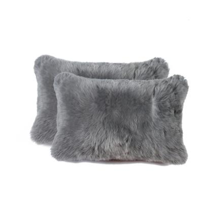New Zealand Sheepskin Gray Solid 12 in. x 20 in. Throw Pillow (Set of 2)
