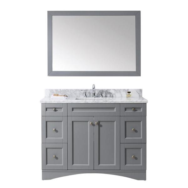 Elise 49 in. W Bath Vanity in Gray with Marble Vanity Top in White with Square Basin and Mirror