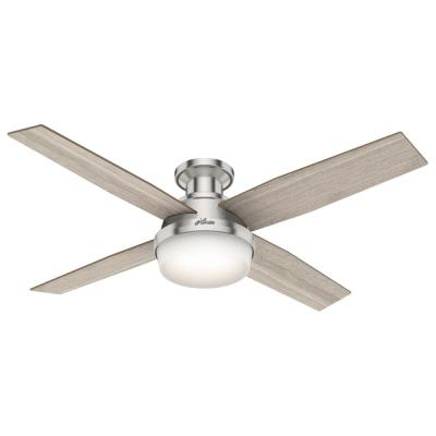 Dempsey 52 in. LED Low Profile Indoor Brushed Nickel Ceiling Fan with Light and Remote